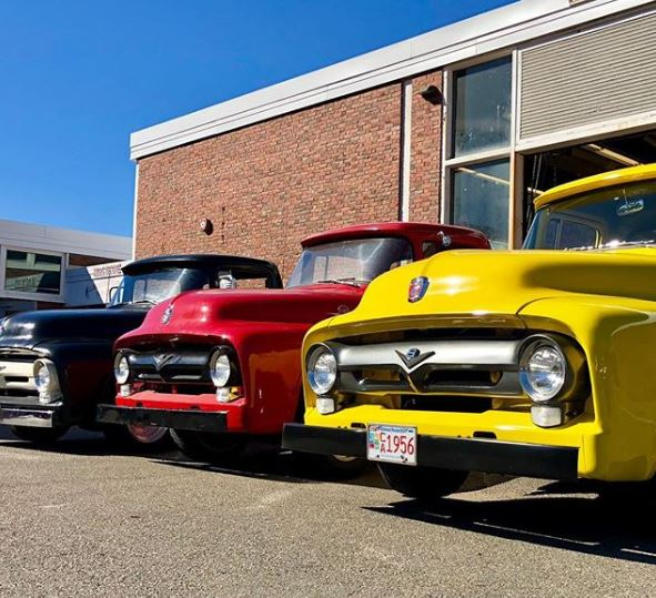 Auto students are restoring these 1956 Ford pickup trucks
