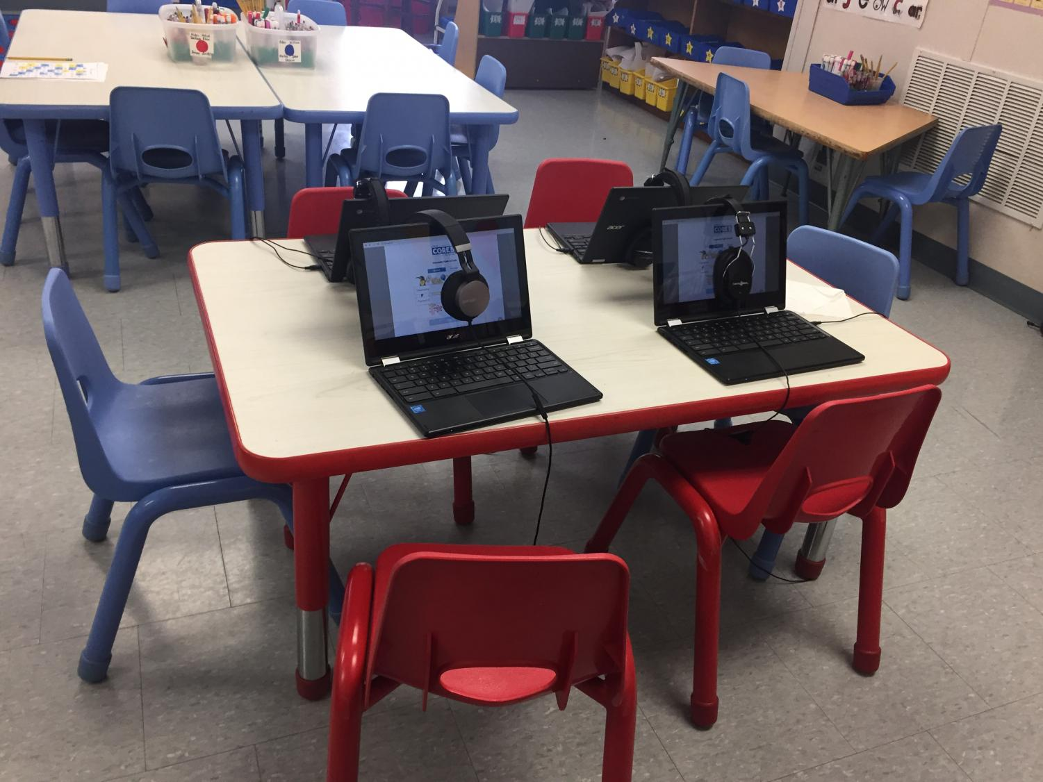 A kindergarten classroom at East Gloucester Elementary School provides Chromebooks and headphones for students