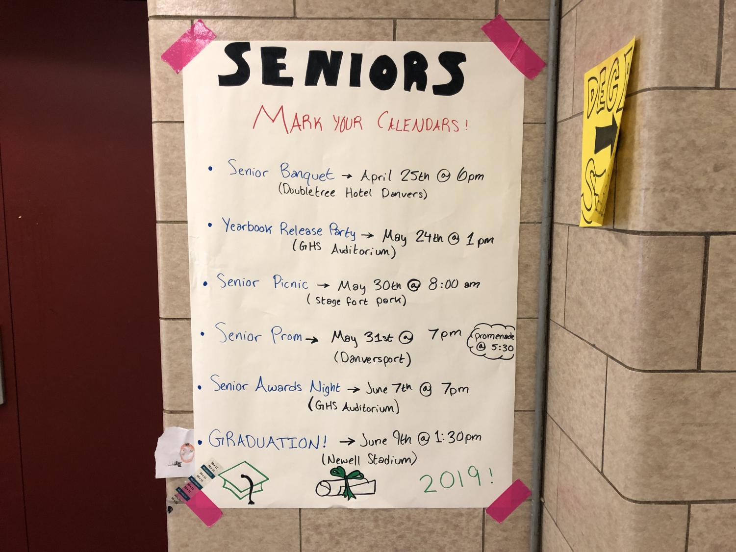 Important dates and events for seniors are posted next to the ticket booth.