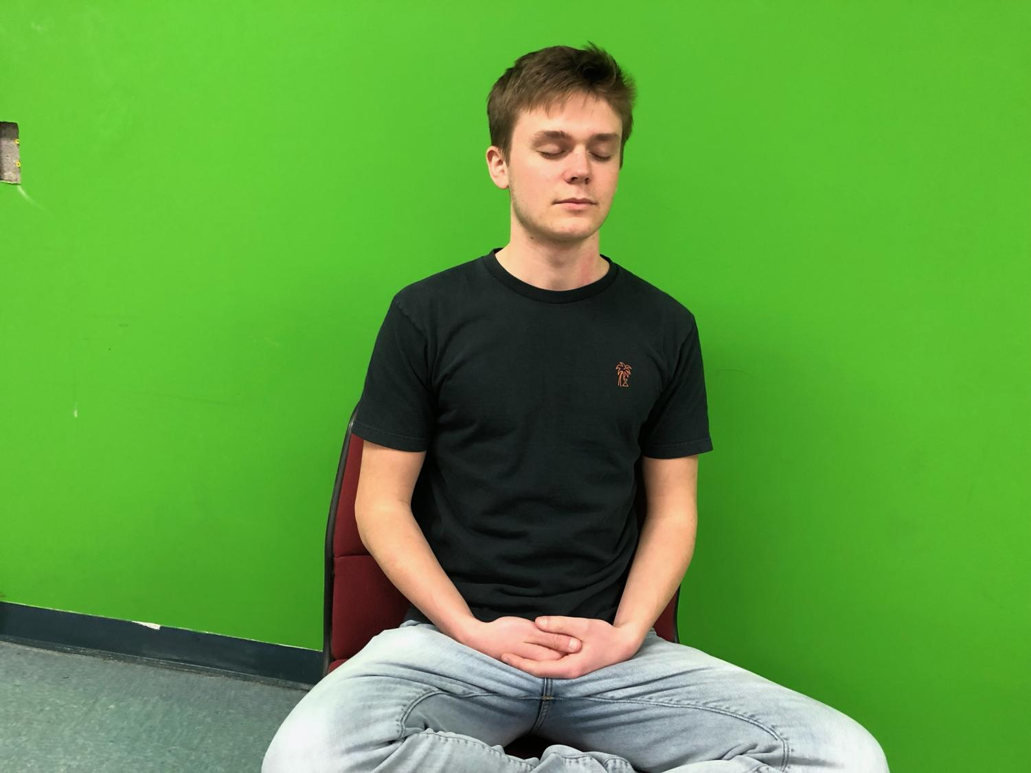Thad Fulmer demonstrates his meditation techniques