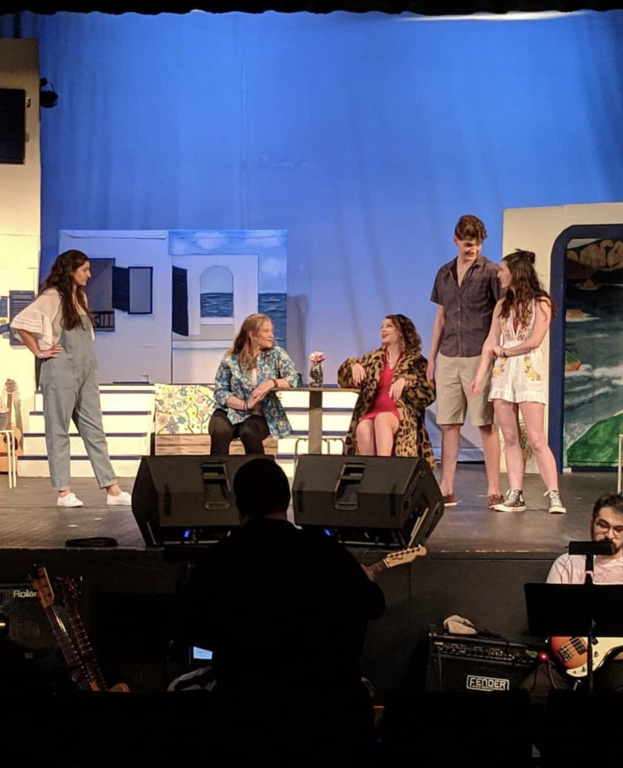 (from left) Emily Frick, Marissa Orlando, Sarah Wermer, Nathaniel Oaks and Rebecca Dowd rehearsing for theie upcoming performance of Mamma Mia