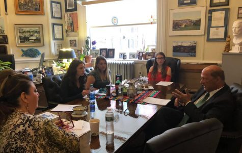 Mayor Sefatia Romeo Theken and Chief Advisory Officer James Destino met with students Danielle Denman, Lauren Alves, Kennedy Rounds, Madison Kolterjahn at student government day.