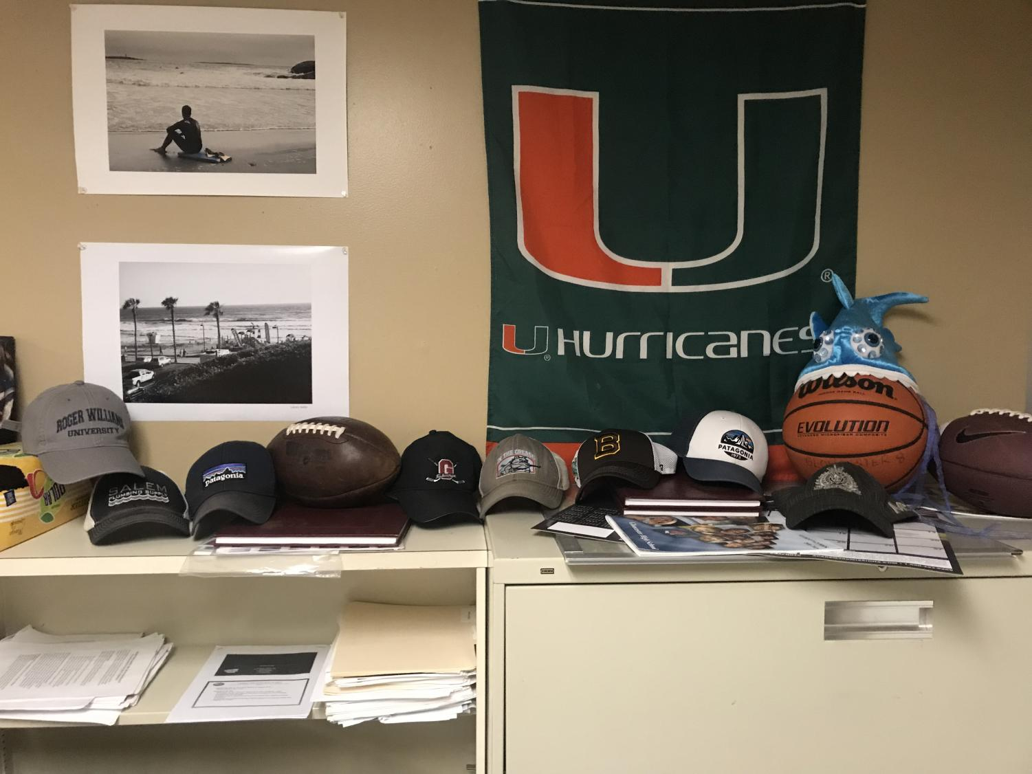 Some confiscated hats in Mr. Kobs' office