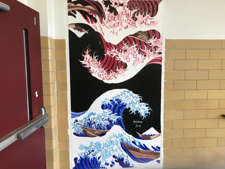 Natasha Baumgaertel's and Julia Amero's  recreation of The Great Wave off Kanagawa by Hokusai.