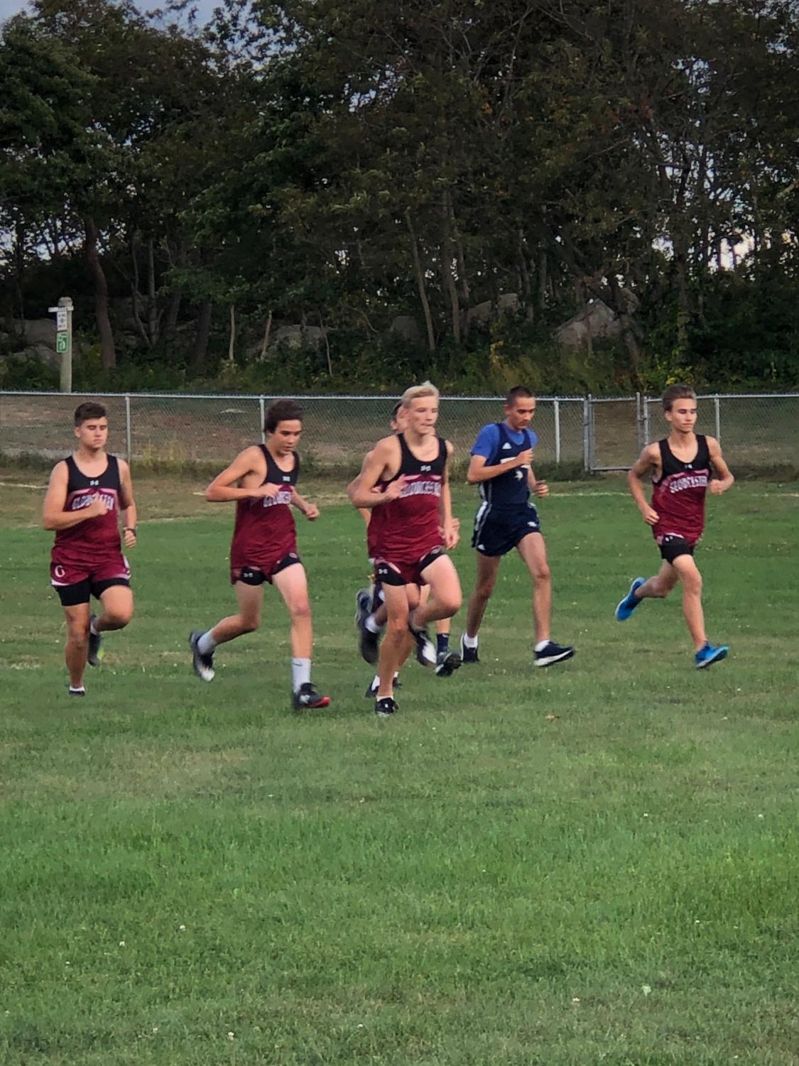 Boys Cross County team begins race at Stage Fort park last month.