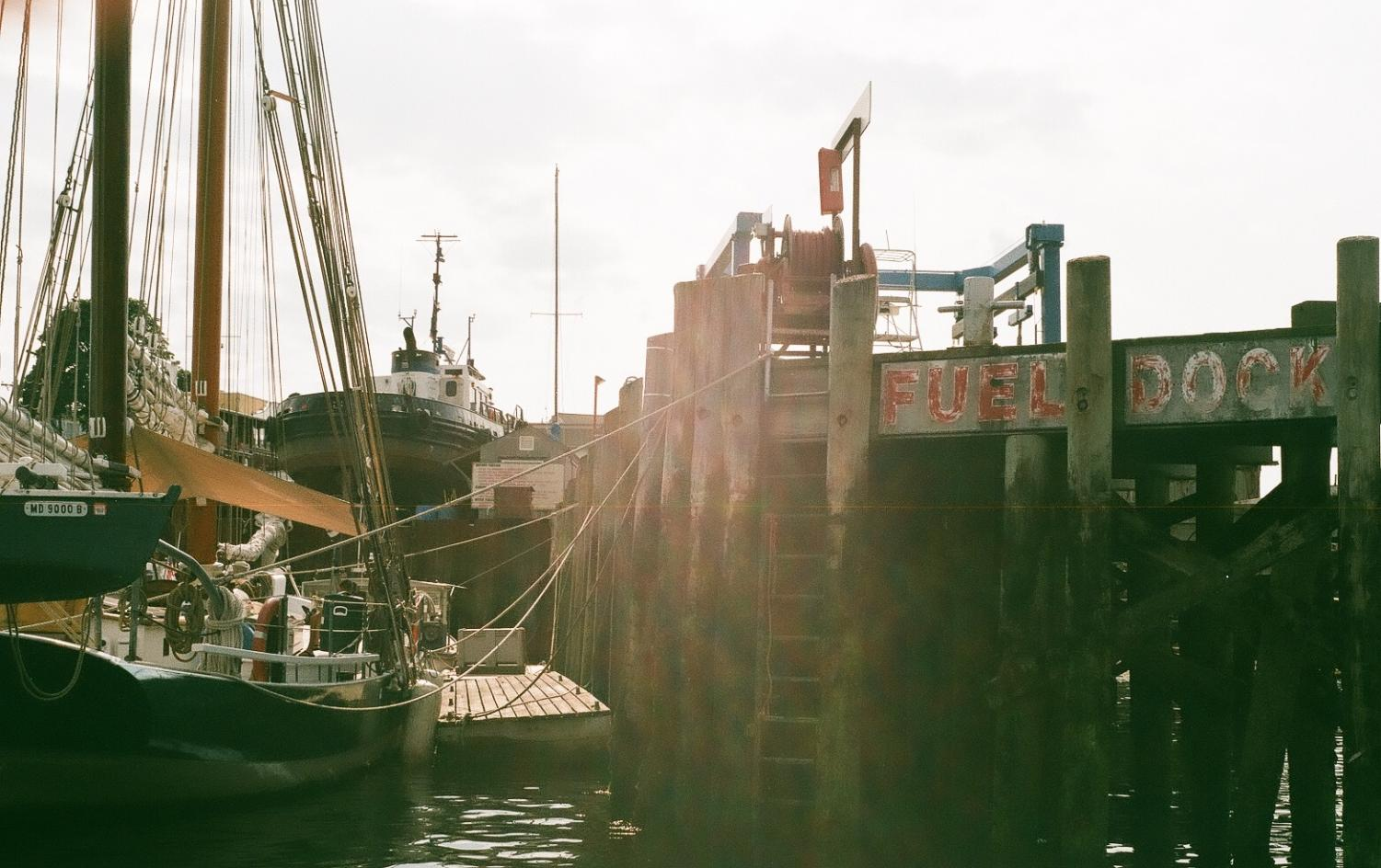 The fuel dock at Gloucester Marine Railways in Gloucester Harbor. Touchette cited this area as one of his favorite places to paint.
