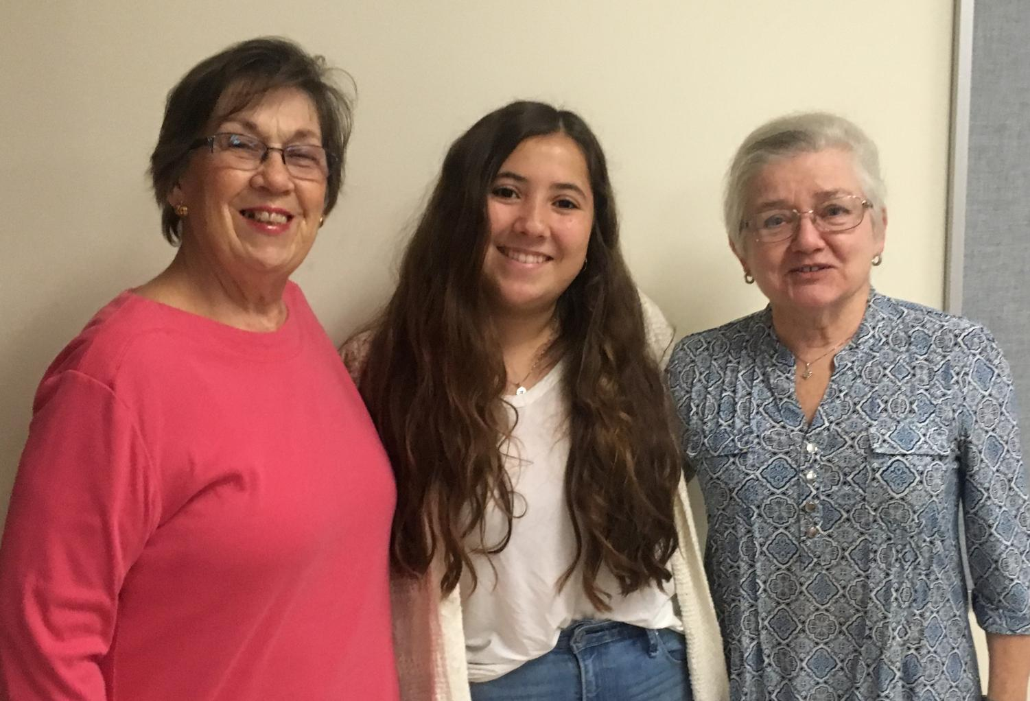 GHS student Olivia Hogan-Lopez (center) met today at GHS with Marge Schernig and June Michaels, members of the League of Women Voters of Cape Ann.