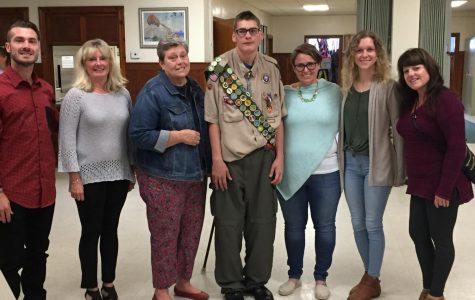 Scott Trott with his teachers Geoff Kennedy, Jen Kennedy, Donna Tarr, Elizabeth Tarr, Jessica Kirk and Elizabeth Harney celebrate him becoming an Eagle Scout