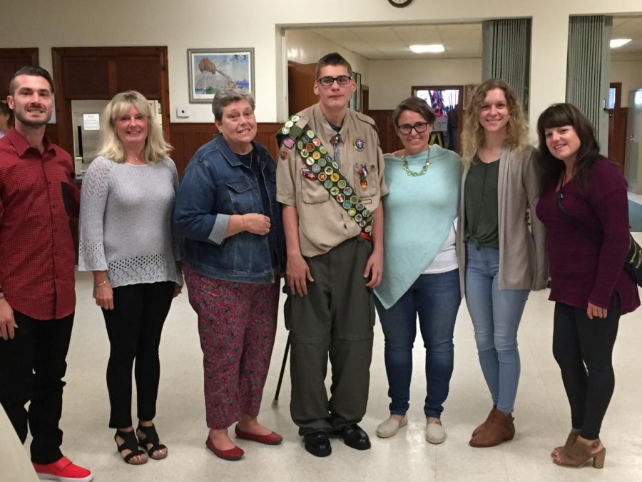 Scott+Trott+with+his+teachers+Geoff+Kennedy%2C+Jen+Kennedy%2C+Donna+Tarr%2C+Elizabeth+Tarr%2C+Jessica+Kirk+and+Elizabeth+Harney+celebrate+him+becoming+an+Eagle+Scout