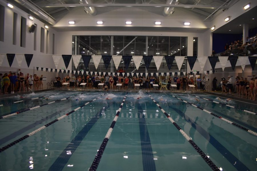 Swimmers+compete+at+St.+John%27s+Prep+for+the+NEC+meet+last+week