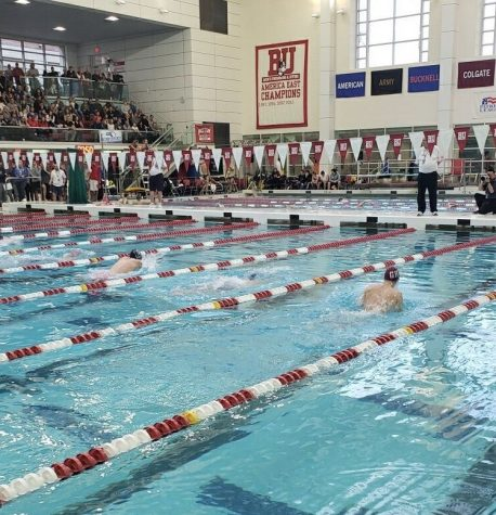 Sam Groleau swims 100 breaststroke at the State Championships at Boston University