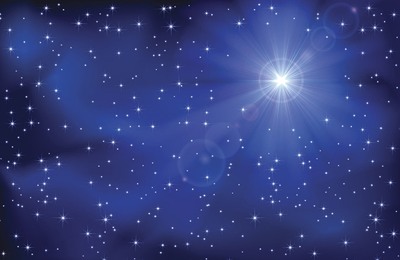 Shining star in the dark blue night sky, illustration.