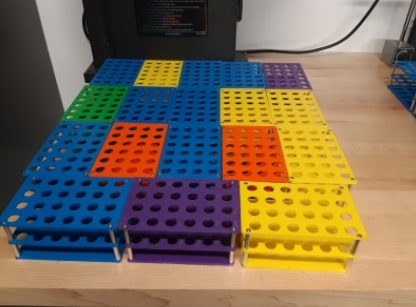 Completed 3D printed Covid-19 test tube holders  made by GHS Engineering
