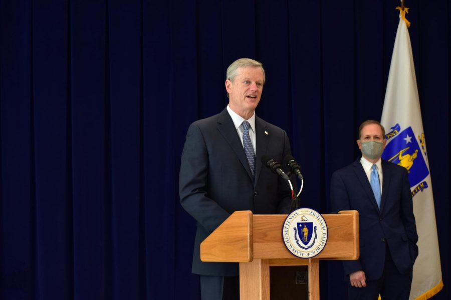 Gov.+Charlie+Baker+speaks+at+West+Parish+Elementary+School+about+vaccine+supply+and+the+plan+to+vaccinate+educators.+