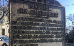 Plaque commemorating French explorer Samuel de Champlain who came ashore on  Rocky Neck in 1606. He and his crew had peaceful encounters with the Pawtucket people, who built the causeway connecting Rocky Neck to East Gloucester.