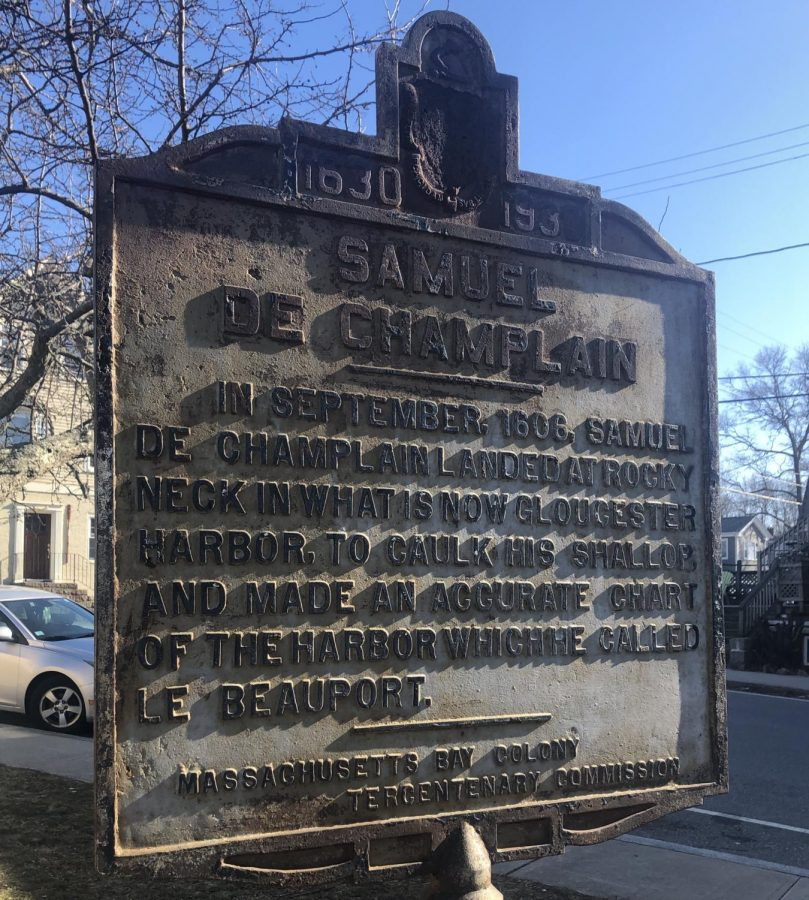 Plaque+commemorating+French+explorer+Samuel+de+Champlain+who+came+ashore+on++Rocky+Neck+in+1606.+He+and+his+crew+had+peaceful+encounters+with+the+Pawtucket+people%2C+who+built+the+causeway+connecting+Rocky+Neck+to+East+Gloucester.++