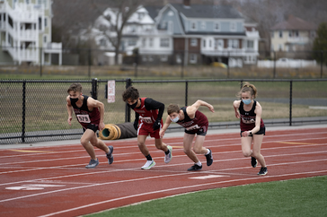 Junior Kyle Clifford, sophomore Deston Cauthers, and freshman Faith Castellucci begin the 1000m alongside an opponent from Saugus.
