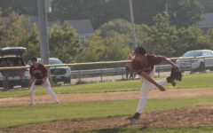 Zach Morris pitches from the stretch in the 7th inning against Marblehead.