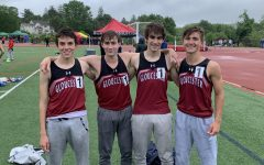 The Distance Medley Relay team ran a time of 11:01.9, placing first at the Division 2 State Relays and breaking the school record. (From left) Nick Poulin, Will Kenney, James Wendell,  and Andrew Coelho
