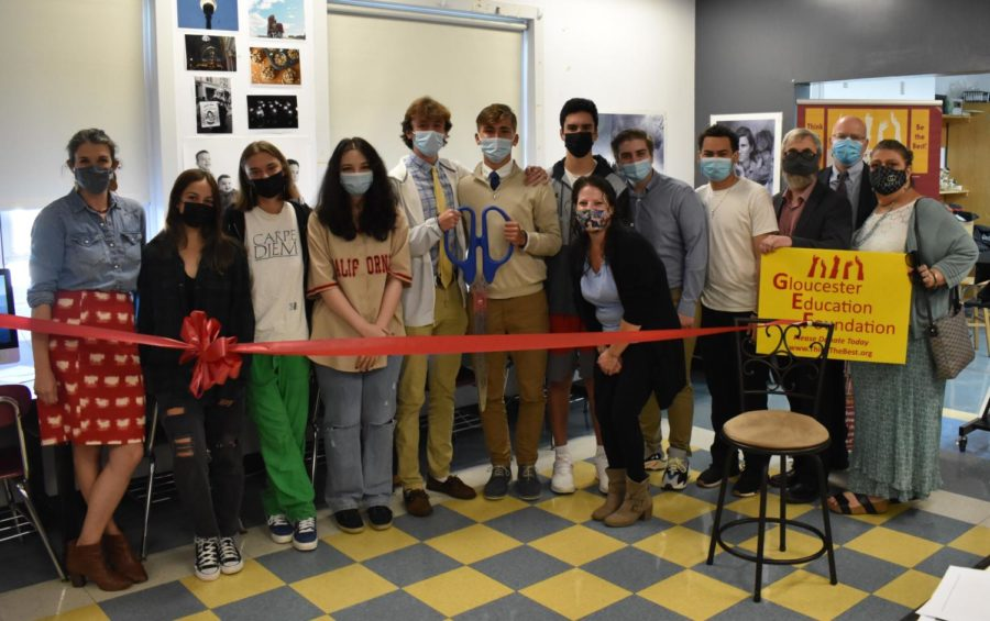 Photo teacher Emily Harney and her students pose with administrators, member of GEF, and Mayor Romeo-Theken at the photo lab ribbon cutting ceremony